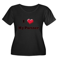 My Partner Women's Plus Size Scoop Neck Dark T-Shirt