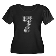 Vintage Number 7 Women's Plus Size Scoop Neck Dark T-Shirt