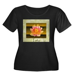 Good Morning Lotus Women's Plus Size Scoop Neck Dark T-Shirt