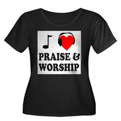 I HEART PRAISE AND WORSHIP Women's Plus Size Scoop Neck Dark T-Shirt