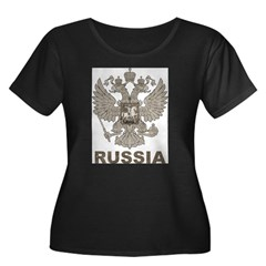 Vintage Russia Women's Plus Size Scoop Neck Dark T-Shirt