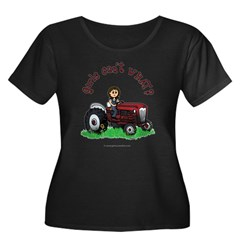 Light Red Farmer Women's Plus Size Scoop Neck Dark T-Shirt