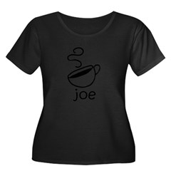Java Joe Coffee Cartoon Women's Plus Size Scoop Neck Dark T-Shirt