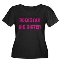 ADULT SIZES rock star big sister Women's Plus Size Scoop Neck Dark T-Shirt