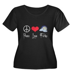 Peace Love Forks Women's Plus Size Scoop Neck Dark T-Shirt