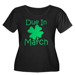 Due In March - Lucky Maternity T-Shirt (dark) Women's Plus Size Scoop Neck Dark T-Shirt