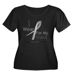 Gray Ribbon Friend Women's Plus Size Scoop Neck Dark T-Shirt