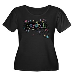 Beyotch Women's Plus Size Scoop Neck Dark T-Shirt