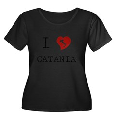 I Love Catania Women's Plus Size Scoop Neck Dark T-Shirt