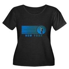 New York Vintage Women's Plus Size Scoop Neck Dark T-Shirt