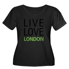 Live Love London Women's Plus Size Scoop Neck Dark T-Shirt