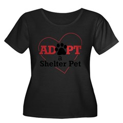 Adopt a Shelter Pet Womens PlusSz Scoop Neck Shirt Women's Plus Size Scoop Neck Dark T-Shirt
