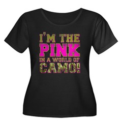 pink Women's Plus Size Scoop Neck Dark T-Shirt