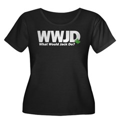 WWJackDo Women's Plus Size Scoop Neck Dark T-Shirt