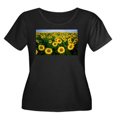 Sunflowers in field Women's Plus Size Scoop Neck Dark T-Shirt