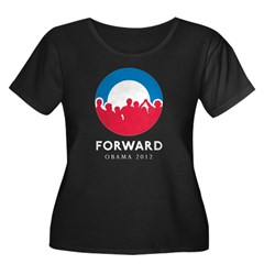 Obama Forward Women's Plus Size Scoop Neck Dark T-Shirt