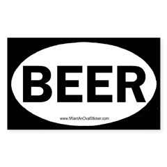 BEER Oval Sticker (Rectangle 50 pk)