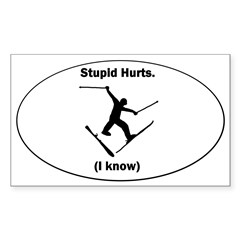 Skiing Stupid Hurts Oval Sticker (Rectangle 50 pk)