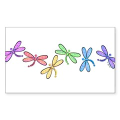 Rainbow Dragonflies Rectangle Sticker (Rectangle 50 pk)