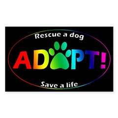 Adopt Sticker (Multi on Black) Sticker (Rectangle 50 pk)