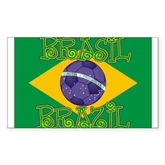 Brazil soccer Rectangle Sticker (Rectangle 50 pk)
