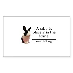 A rabbits place is in the hom Oval Sticker (Rectangle 50 pk)