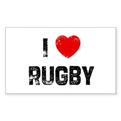 I * Rugby Rectangle Sticker (Rectangle 50 pk)