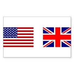 USA & Union Jack Rectangle Sticker (Rectangle 50 pk)