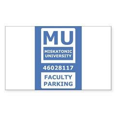 Miskatonic University Parking Pass (Faculty) Sticker (Rectangle 50 pk)