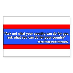JFK Inaugural Quote Sticker (Rectangle 50 pk)