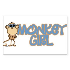 Monkey Girl Oval Sticker (Rectangle 50 pk)