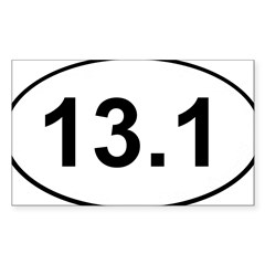Half Marathon 13.1 White Oval Sticker (Rectangle 50 pk)