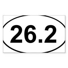 Marathon 26.2 White Oval Sticker (Rectangle 50 pk)
