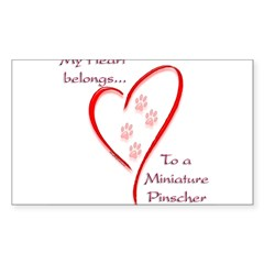 Min Pin Heart Belongs Rectangle Sticker (Rectangle 50 pk)