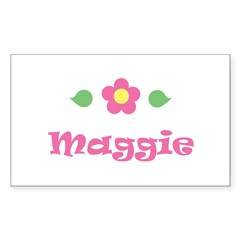 "Pink Daisy - ""Maggie"" Rectangle Sticker (Rectangle 50 pk)"