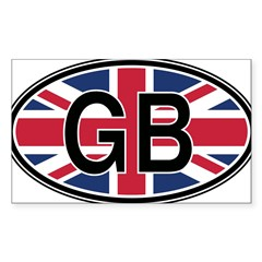 Great Britain Euro Oval Sticker (Rectangle 50 pk)