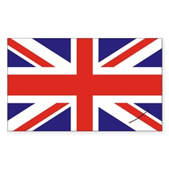 British Flag Euro Oval Sticker (Rectangle 50 pk)