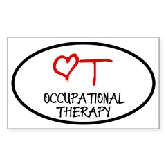 Occupational Therapy Heart Oval Sticker (Rectangle 50 pk)