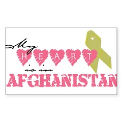 Yellow ribbon/My heart is in Sticker (Rectangular Sticker (Rectangle 50 pk)