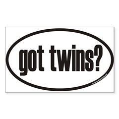 got twins? Euro Oval Sticker (Rectangle 50 pk)