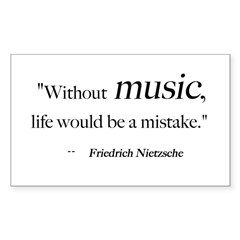 Without music, life is a mist Sticker (Rectangular Sticker (Rectangle 50 pk)