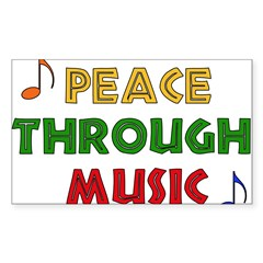 Peace Through Music Rectangle Sticker (Rectangle 50 pk)