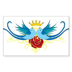 Swallows with Rose Rectangle Sticker (Rectangle 50 pk)