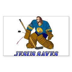 Jesus Saves (Hockey Goalie) Rectangle Sticker (Rectangle 50 pk)
