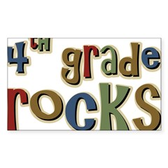 4th Grade Rocks Fourth School Sticker (Rectangular Sticker (Rectangle 50 pk)
