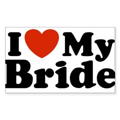 I Love My Bride Rectangle Sticker (Rectangle 50 pk)