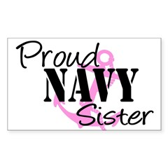 Proud Navy Sister - Pink Anch Sticker (Rectangular Sticker (Rectangle 50 pk)