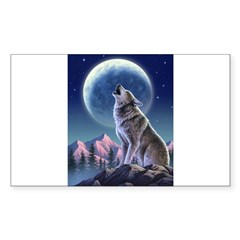 Howling Wolf 1 Rectangle Sticker (Rectangle 50 pk)