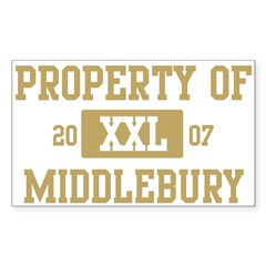 Property of Middlebury Sticker (Rectangle 50 pk)