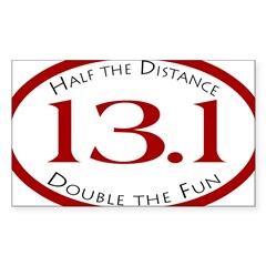 13.1 - Half the Distance Oval Sticker (Rectangle 50 pk)
